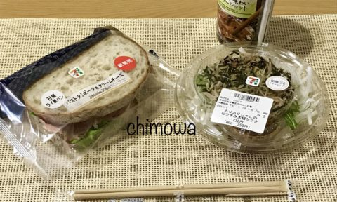 セブンミールから届いた石窯ライ麦パンパストラミ&チーズのサンドイッチとカリカリじゃこのおつまみ大根サラダの写真
