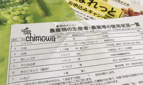 らでぃっしゅぼーやのお試しセットと一緒に届いた「本日のメニュー 農産物の生産者・農薬等の使用状況一覧」の写真