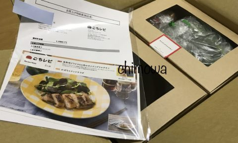 届いた食材(2人前)とレシピ、納品書などの写真