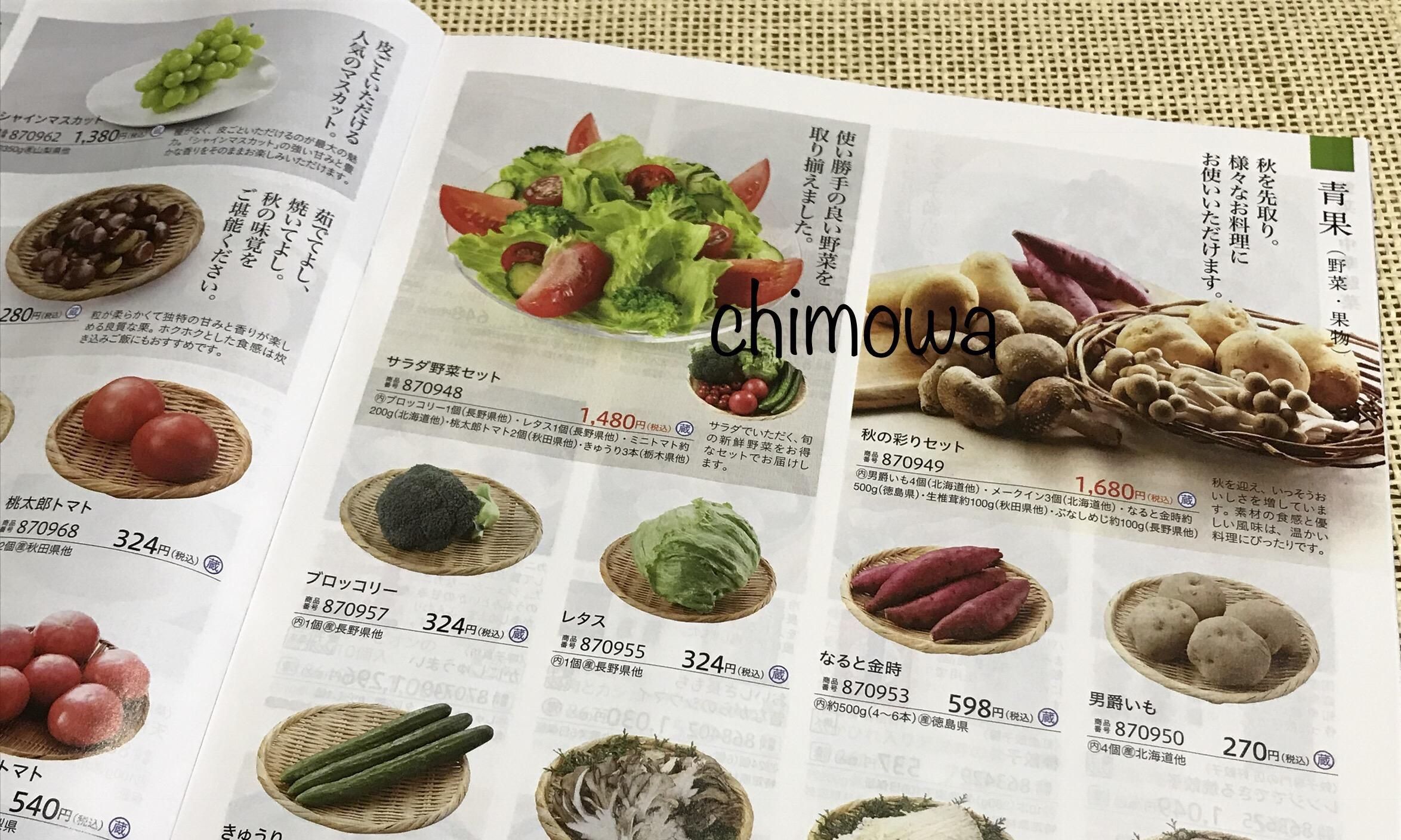 高島屋ローズキッチンカタログ「青果(野菜・果物)」ページの写真