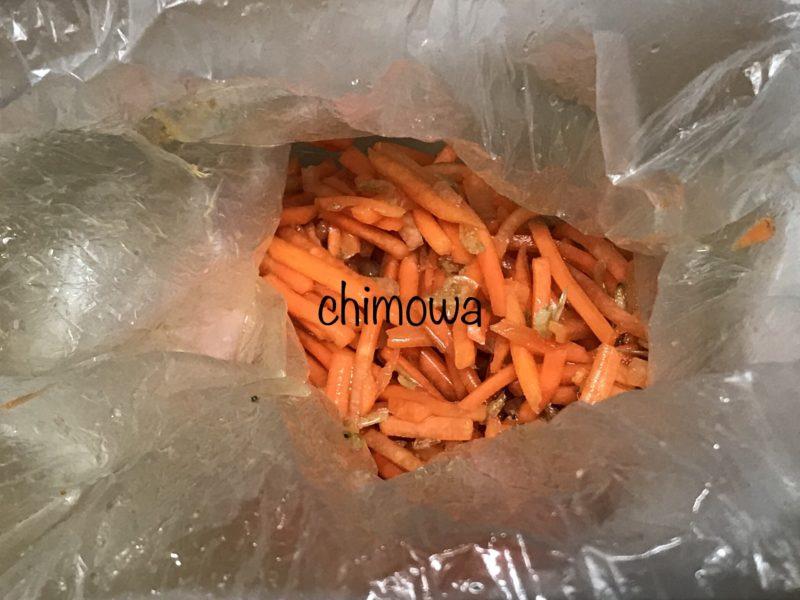 dミールキットお試しセット ビニール袋で作った副菜の写真