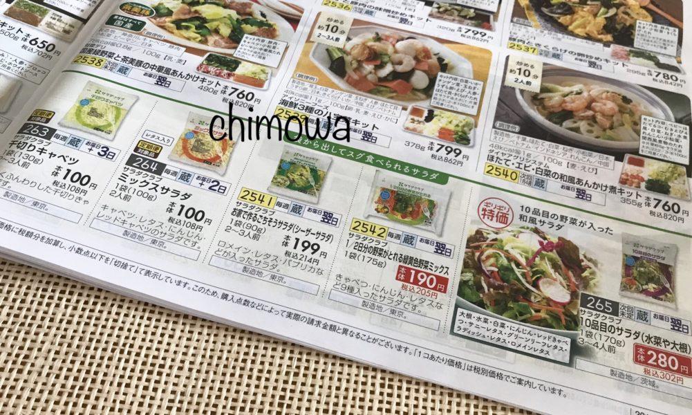 おうちコープカタログのらくうまミールキット(冷蔵)のページにあるサラダの写真